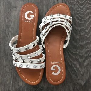G By Guess white studded slides